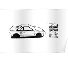 Toyota AW11 MR2 - DATA Graphic - PRINT Poster