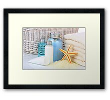 Skin care cosmetics and towels and bag Framed Print