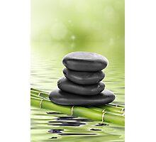 Zen basalt stones on bamboo Photographic Print