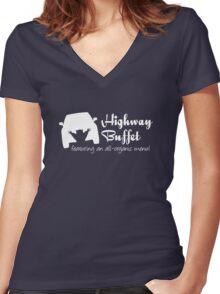 Highway Buffet Women's Fitted V-Neck T-Shirt