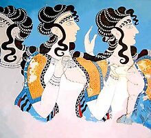 "Minoan ""Ladies in Blue"" Women Fresco Art by W. Sheppard Baird"