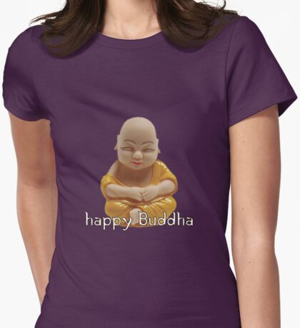 Happy Buddha Womens Fitted T-Shirt