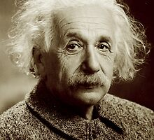Albert Einstein, Portrait, signature by TOM HILL - Designer