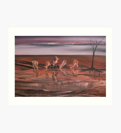 Kangaroos at the Waterhole Art Print