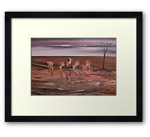 Kangaroos at the Waterhole Framed Print