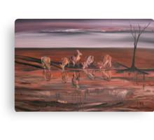 Kangaroos at the Waterhole Canvas Print
