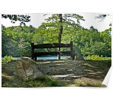 A Quiet Bench On A Quiet Pond  Poster