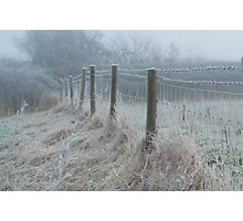 The ice covered rickety fence Photographic Print