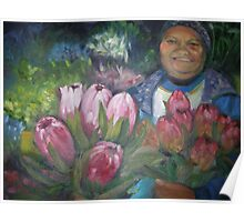 Flowerseller holding proteas. Poster