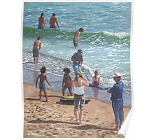 people on Bournemouth beach pulling dingys Poster