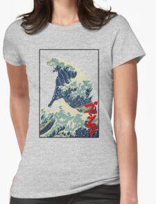 Godzilla Kanagawa wave Womens Fitted T-Shirt