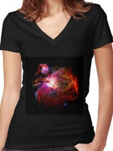 Orion Nebula No.1 Women's Fitted V-Neck T-Shirt