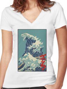Godzilla Kanagawa wave with backgroud Women's Fitted V-Neck T-Shirt