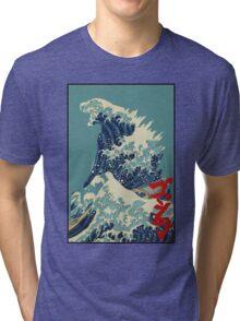 Godzilla Kanagawa wave with backgroud Tri-blend T-Shirt