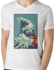 Godzilla Kanagawa wave with backgroud Mens V-Neck T-Shirt