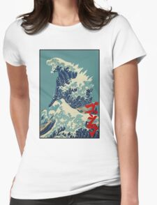 Godzilla Kanagawa wave with backgroud Womens Fitted T-Shirt