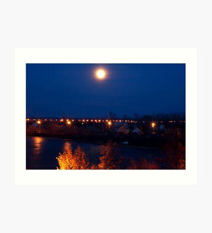 Night lights over the river Art Print