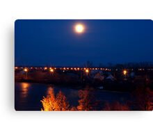 Night lights over the river Canvas Print