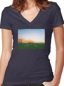Taxi Women's Fitted V-Neck T-Shirt