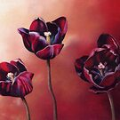 Three Black Tulips - Flowers by Helen Lush