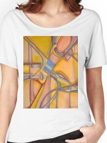 Yellow Hues Original Abstract Acrylic on Canvas Women's Relaxed Fit T-Shirt