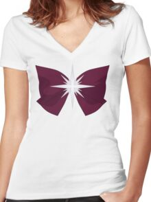 Sailor Saturn Bow Women's Fitted V-Neck T-Shirt