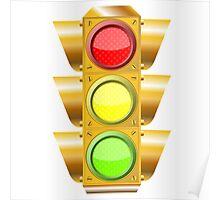 Cross road traffic lights Poster