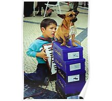 Boy, Dog and Accordian Poster