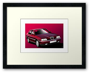 Alfa Romeo 164 Poster Illustration by Autographics