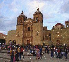 Church at dusk, Oaxaca City by Shirley  Poll
