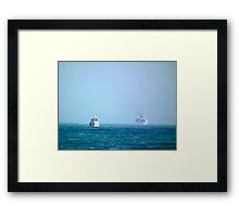 Working at sea Framed Print