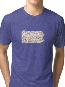 Pennsylvania Vintage Picture Map Tri-blend T-Shirt