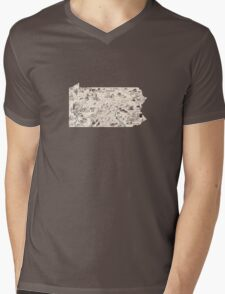 Pennsylvania Vintage Picture Map Mens V-Neck T-Shirt