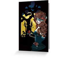 Day of the Dead and Gothic window Greeting Card