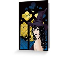 Witch near Gothic Window Greeting Card