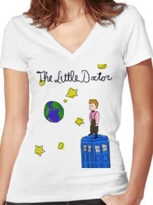 The Little Doctor (open background) Women's Fitted V-Neck T-Shirt