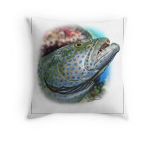 PEACOCK GROUPER Cephalopholis argus ( NOT A PHOTOGRAPH OR PHOTOMANIP) Throw Pillow