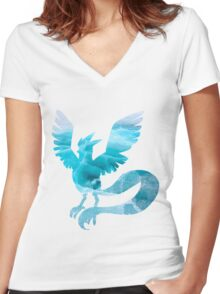 Articuno used sheer cold Women's Fitted V-Neck T-Shirt