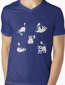 White Cats Stealing Yarn Mens V-Neck T-Shirt