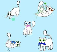 White Cats Stealing Yarn by mabelmakesamess