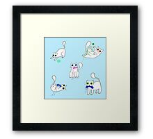 White Cats Stealing Yarn Framed Print