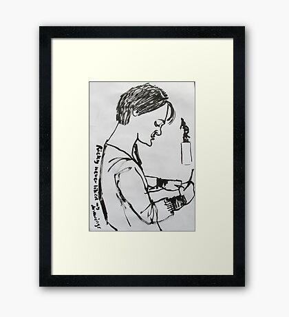 """""""Ricky never liked my drawings...sigh"""" Framed Print"""