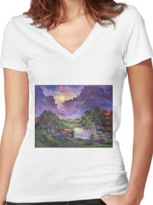 Moonlight in the Woods Women's Fitted V-Neck T-Shirt