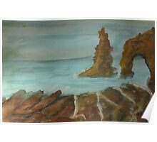 A natural rock formation, watercolor Poster