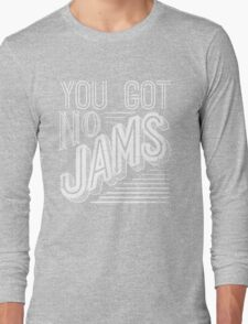 You Got No Jams - BTS Distressed Typography (White) Long Sleeve T-Shirt