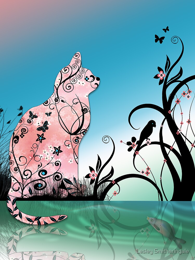 Cherry Blossom Cat by Pond at Sunset by Lesley Smitheringale