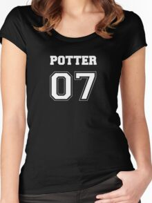 Potter Quidditch Jersey Number Women's Fitted Scoop T-Shirt