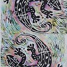 Woodcut Lizards by Caroline Maddison