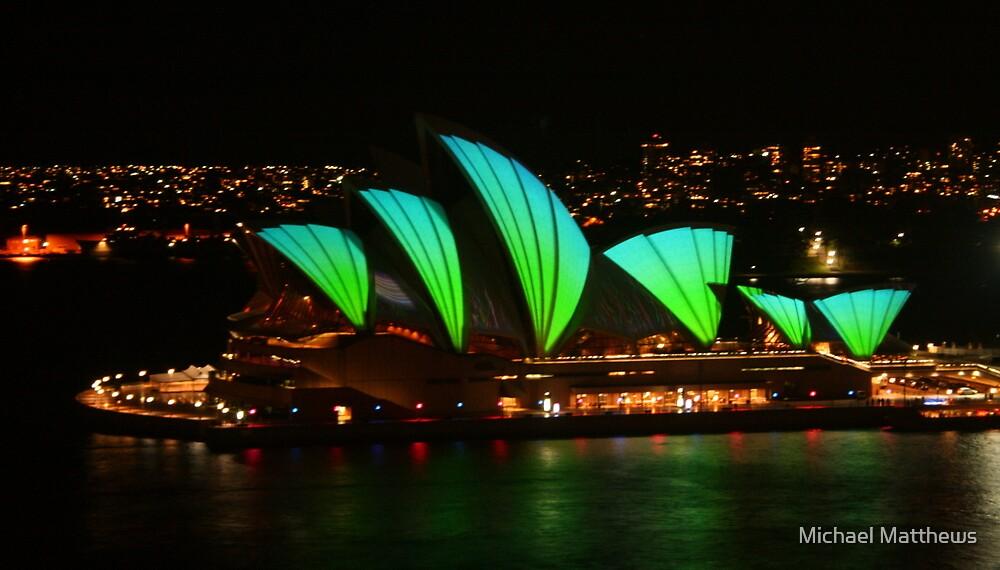 Vivid Opera House from the bridge by Michael Matthews
