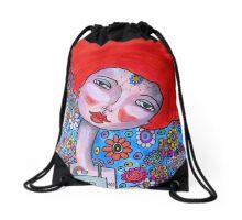 Mixed Media Portrait  Drawstring Bag